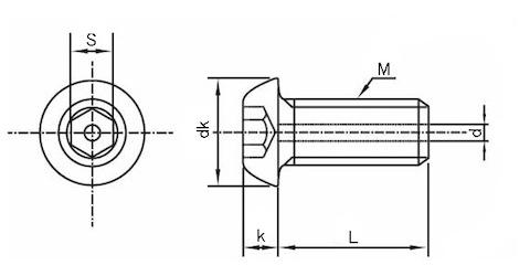 六角穴付きボタンボルト図